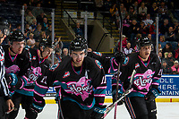 KELOWNA, CANADA - NOVEMBER 3:  Erik Gardiner #11 and Leif Mattson #28 of the Kelowna Rockets celebrate a goal against the Brandon Wheat Kings on November 3, 2018 at Prospera Place in Kelowna, British Columbia, Canada.  (Photo by Marissa Baecker/Shoot the Breeze)