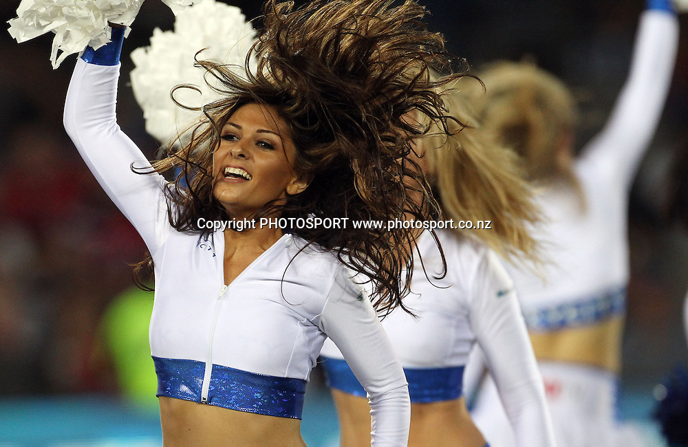 Sky City Blues Cheerleaders in action. Blues v Crusaders at Eden Park, Auckland, New Zealand. Investec Super 15 Rugby Union. Saturday 19 February 2011. Photo: Andrew Cornaga/PHOTOSPORT