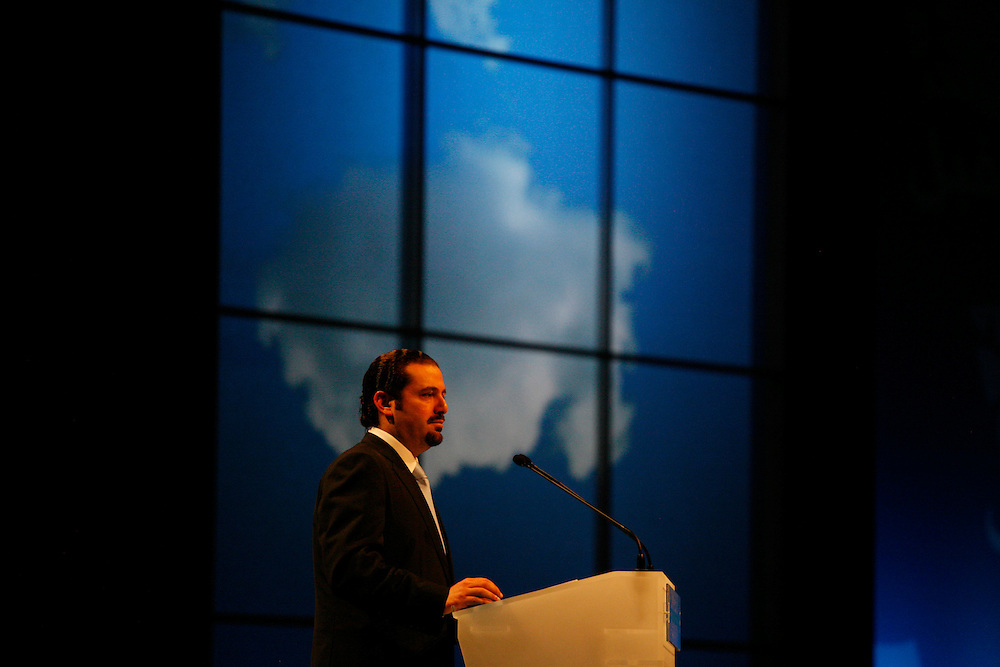 Then candidate for parliament and leader of the mostly Sunni Future Movement Saad Hariri addresses the crowd at the BIEL convention center in Beirut just two days before the June 2009 presidential elections. Hariri, the son of former Prime Minister Rafiq Hariri who died in a 2005 car bomb, would go on to become prime minister himself for over a year until his government collapsed.