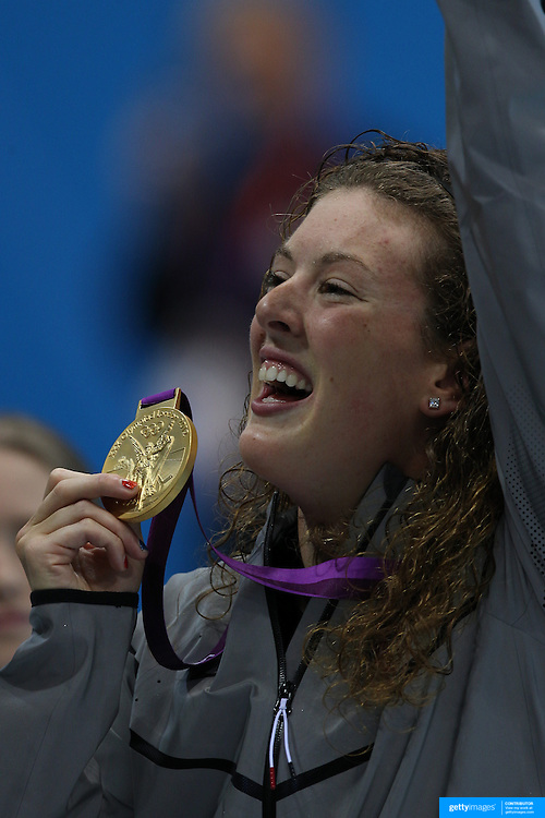 Allison Schmitt, USA, winning the Gold medal in the Women's 200m Freestyle Final at the Aquatic Centre at Olympic Park, Stratford during the London 2012 Olympic games. London, UK. 31st July 2012. Photo Tim Clayton