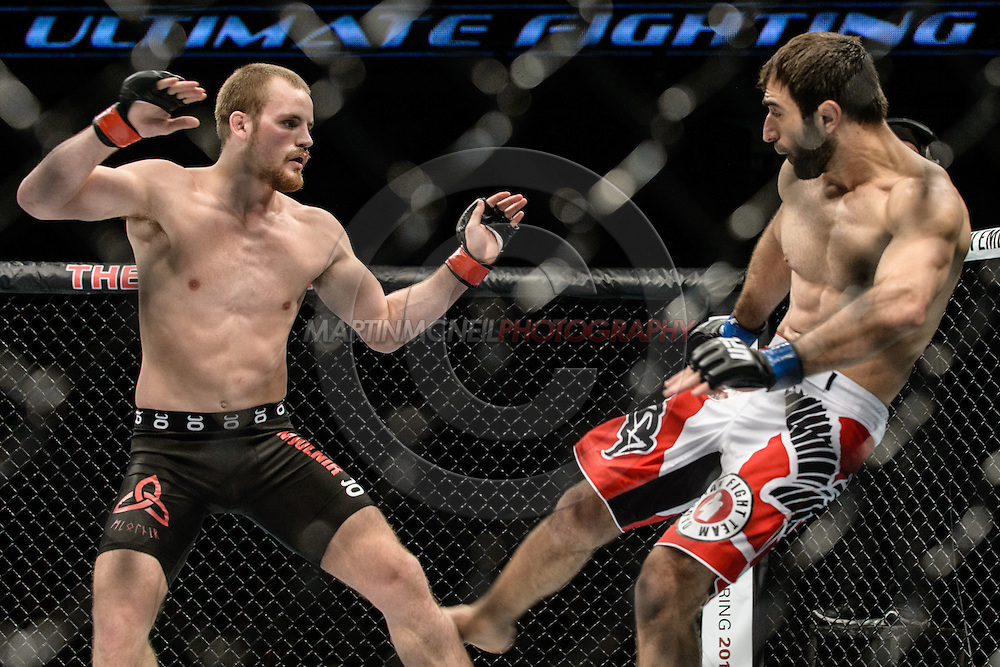 "LONDON, ENGLAND, MARCH 8, 2014: Gunnar Nelson Omari Akhmedov during ""UFC Fight Night: Gustafsson vs. Manuwa"" inside the O2 Arena in Greenwich, London on Saturday, March 8, 2014 (© Martin McNeil)"