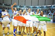 CAGLIARI 21 AGOSTO 2011<br /> CAMPIONATI EUROPEI U 16<br /> FINALE 3-4 POSTO ITALIA TURCHIA<br /> NELLA FOTO ESULTANZA ITALIA<br /> FOTO CIAMILLO