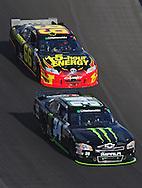 Nov. 12 2011; Avondale, AZ, USA; NASCAR Nationwide Series driver Ricky Carmichael (34) leads Steve Wallace (66) during the Wypall 200 at Phoenix International Raceway. Mandatory Credit: Jennifer Stewart-US PRESSWIRE