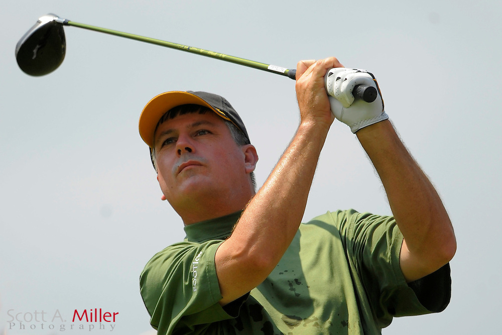 Paul Goydos tees off on the fourth hole during the final round of the Players Championship at TPC Sawgrass on May 11, 2008 in Ponte Vedra Beach, Florida.     © 2008 Scott A. Miller