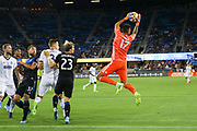 San Jose Earthquakes goalkeeper Daniel Vega (17) leaps to make a save during an MLS soccer match against the Philadelphia Union, Wednesday, Sept. 25, 2019, in San Jose, Calif. Philadelphia Union beat San Jose 2-1,  (Peter Klein/Image of Sport)