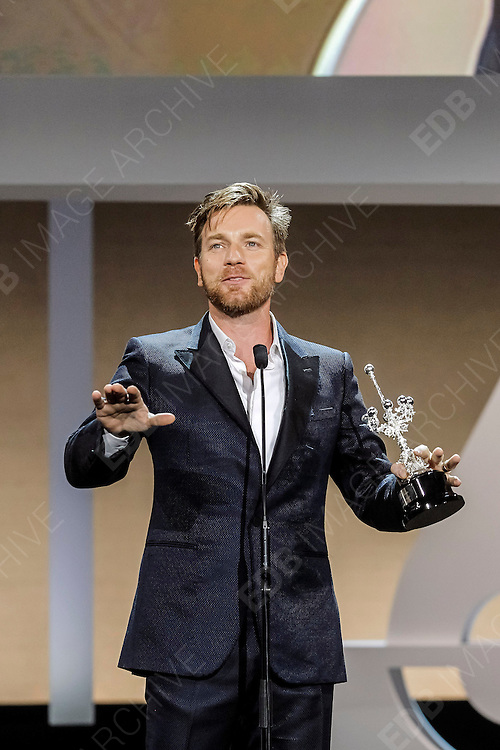 27.SEPTEMBER.2012. SAN SEBASTIAN<br /> <br /> THE SAN SEBASTIAN INTERNATIONAL FILM FESTIVAL AWARDED THE DONOSTIA LIFETIME ACHIEVEMENT AWARD TO EWAN MCGREGOR, MAKING HIM THE YOUNGEST ACTOR TO RECEIVE THE FESTIVAL&rsquo;S HONOR.<br /> <br /> BYLINE: EDBIMAGEARCHIVE.CO.UK<br /> <br /> *THIS IMAGE IS STRICTLY FOR UK NEWSPAPERS AND MAGAZINES ONLY*<br /> *FOR WORLD WIDE SALES AND WEB USE PLEASE CONTACT EDBIMAGEARCHIVE - 0208 954 5968*