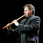 "April 9, 2011 - Manhattan, NY : James Nyoraku Schlefer performs on the shakuhachi, a traditional Japanese bamboo flute, during the Japan Society's all-day special ""Concert For Japan"" charity event on Saturday. (This was taken during the Open Concert: Japanese Traditional Music set)... CREDIT: Karsten Moran for The New York Times."