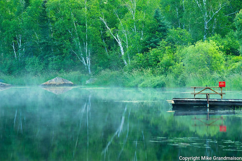 Picnic table and dock. Riviere Fraser<br />Latulipe<br />Quebec<br />Canada