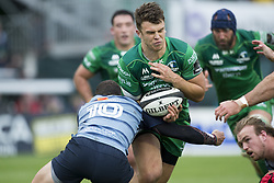 September 23, 2017 - Galway, Ireland - Tom Farrell of Connacht tackled by Steven Shingler of Cardiff during the Guinness PRO14 Conference A match between Connacht Rugby and Cardiff Blues at the Sportsground in Galway, Ireland on September 23, 2017  (Credit Image: © Andrew Surma/NurPhoto via ZUMA Press)