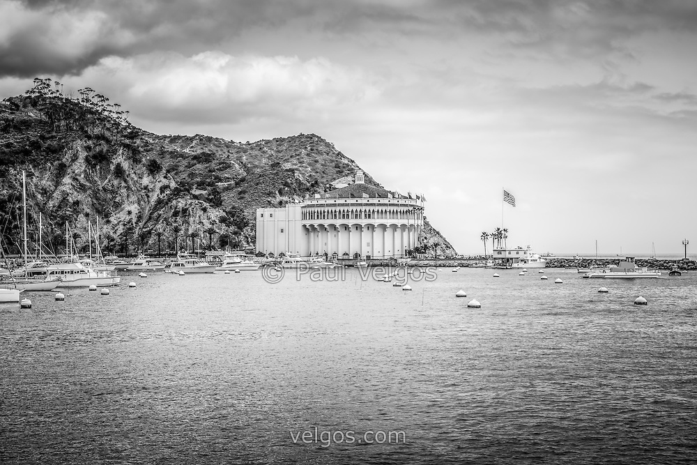 Catalina Island Casino black and white picture with Avalon Bay. The Catalina Casino is one of the most popular attractions on Catalina Island.