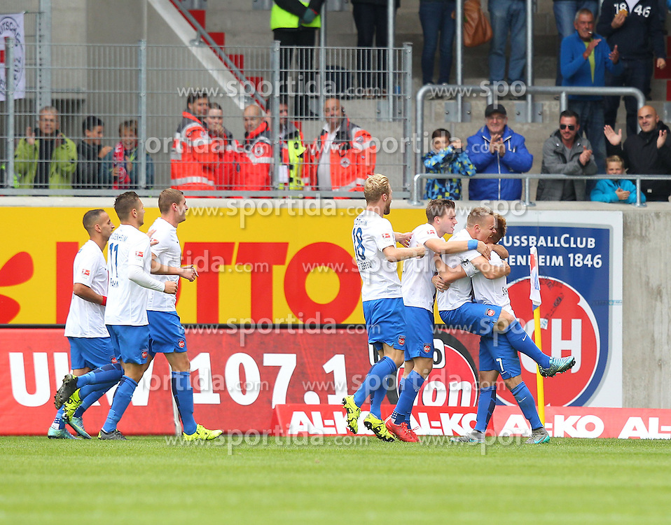 27.09.2015, Voith Arena, Heidenheim, GER, 2. FBL, 1. FC Heidenheim vs Karlsruher SC, 9. Runde, im Bild Jubel nach dem 1:0 Sebastian Griesbeck (1.FC Heidenheim) Robert Leipertz ( 1.FC Heidenheim ) Neuzugang Arne Feick ( 1.FC Heidenheim ) Marc Schnatterer (1.FC Heidenheim) // during the 2nd German Bundesliga 9th round match between 1. FC Heidenheim and Karlsruher SC at the Voith Arena in Heidenheim, Germany on 2015/09/27. EXPA Pictures &copy; 2015, PhotoCredit: EXPA/ Eibner-Pressefoto/ Langer<br /> <br /> *****ATTENTION - OUT of GER*****