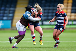 Izzy Noel Smith of Bristol Ladies is tackled by Ellisha Dee of Aylesford Bulls - Rogan Thomson/JMP - 23/04/2017 - RUGBY UNION - Sixways Stadium - Worcester, England - Bristol Ladies Rugby v Aylesford Bulls - Women's Premiership Final.