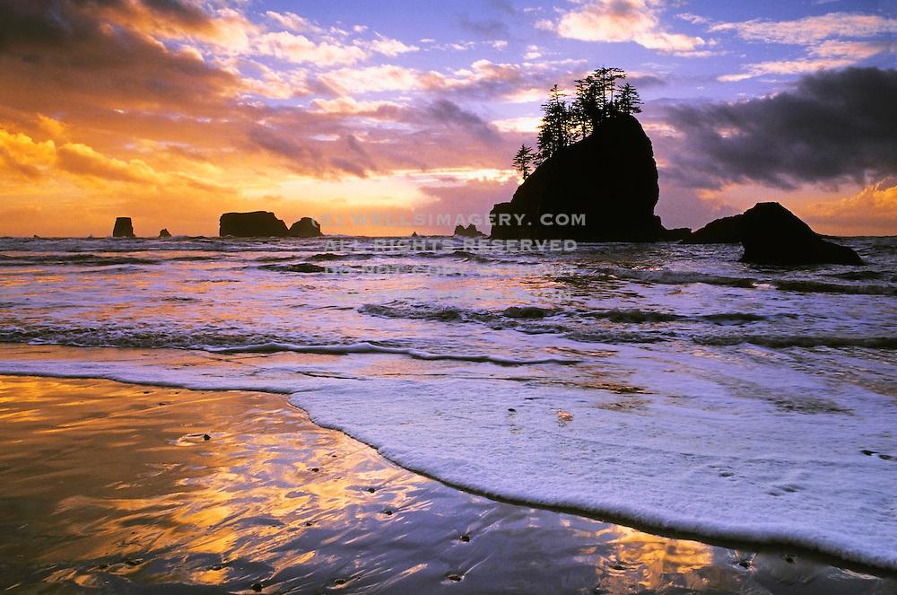 Image of Second Beach at sunset, Olympic National Park, Olympic National Seashore, La Push, Washington, Pacific Northwest