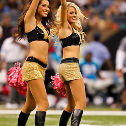 October 3, 2010; New Orleans, LA, USA; New Orleans Saints Saintsations cheerleaders perform during a game at the Louisiana Superdome. The Saints defeated the Panthers 16-14. Mandatory Credit: Derick E. Hingle-US PRESSWIRE