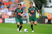 Plymouth Argyle midfielder Graham Carey (10) and Plymouth Argyle defender Gary Sawyer (3) during the EFL Sky Bet League 2 match between Plymouth Argyle and Luton Town at Home Park, Plymouth, England on 6 August 2016. Photo by Graham Hunt.
