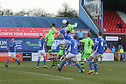 Forest Green Rovers Ethan Pinnock(16) heads the ball towards goal during the FA Trophy match between Macclesfield Town and Forest Green Rovers at Moss Rose, Macclesfield, United Kingdom on 4 February 2017. Photo by Shane Healey.