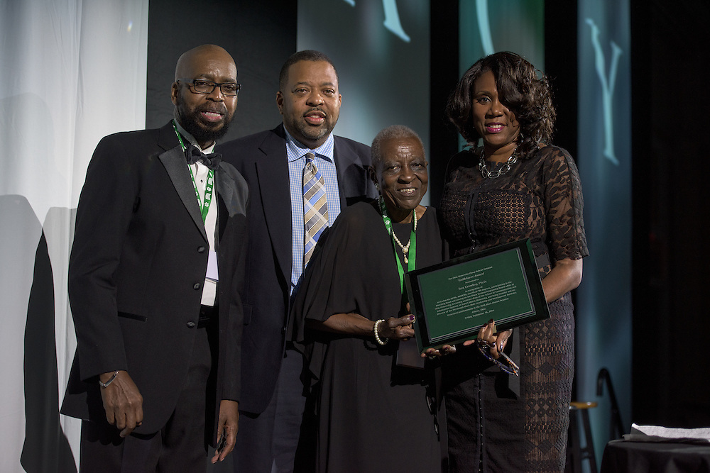 The 2016 Ebony Bobcat Network's Trailblazer Award was posthumously awarded to Rex Crawley during the 2016 Black Alumni Reunion gala dinner held at the Baker Center Ballroom on Friday, September 16, 2016.