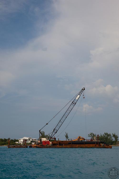 Floating crane in, Nassau Bahamas.