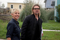 09 March 2012. New Orleans, Louisiana USA. <br /> Brad Pitt revisits his 'Make it Right' Foundation homes in the Lower 9th ward with Ellen Degeneres.<br /> Photo Credit; Charlie Varley
