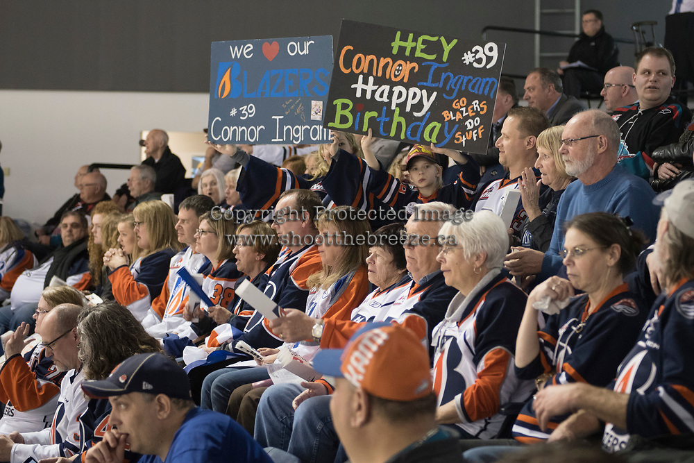KELOWNA, CANADA - MARCH 31: Kamloops Blazers' fans honor Connor Ingram #39 of the Kamloops Blazers at the Kelowna Rockets on March 31, 2017 at Prospera Place in Kelowna, British Columbia, Canada.  (Photo by Marissa Baecker/Shoot the Breeze)  *** Local Caption ***