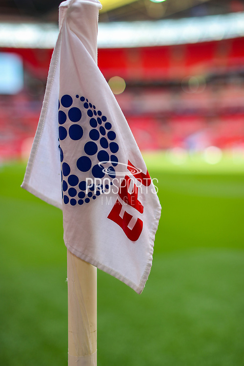 A general view of the EFL corner flag inside Wembley Stadium prior to the EFL Sky Bet League 2 Play Off Final match between Newport County and Tranmere Rovers at Wembley Stadium, London, England on 25 May 2019.