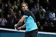 Rafael Nadal throws his sweat band into the crowd during the ATP World Tour Finals at the O2 Arena, London, United Kingdom on 20 November 2015. Photo by Phil Duncan.