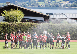 16.07.2014, Alois Latini Stadion, Zell am See, AUT, Bayer 04 Leverkusen Trainingslager, im Bild Teamansprache von Roger Schmidt (Trainer, Bayer 04 Leverkusen) // Roger Schmidt (Trainer, Bayer 04 Leverkusen) speaks to his Team during a Trainingssession of the German Bundesliga Club Bayer 04 Leverkusen at the Alois Latini Stadium, Zell am See, Austria on 2014/07/16. EXPA Pictures © 2014, PhotoCredit: EXPA/ JFK