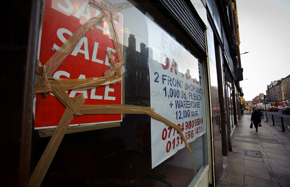 View of shop to let signs in Edinburgh's Leith Area.  Britain's economy is about to suffer its most vicious slump since 1946, as fears over the scale of the recession mounted despite the new banking bailout.