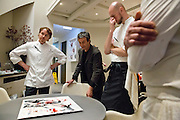 Chef Grant Achatz (left), artist Thomas Masters and chef de cuisine Simon Davies, discuss the new dish and artwork intended to be eaten off of Alinea, an upscale restaurant which underwent a total gut renovation in the Lincoln Park neighborhood of Chicago, Ill., on Thursday, April 28, 2016. Nathan Weber for the New York Times