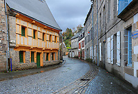 The wet street of the city of Pontrieux, Cotes d'Armor, Brittany, Bretagne, France