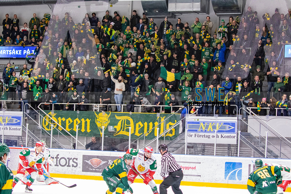 2019-12-02 | Umeå, Sweden:The fans was cheering IF Björklöven in  HockeyAllsvenskan during the game  between Björklöven and Mora at A3 Arena ( Photo by: Michael Lundström | Swe Press Photo )<br /> <br /> Keywords: Umeå, Hockey, HockeyAllsvenskan, A3 Arena, Björklöven, Mora, mlbm191202 , happy happiness celebration celebrates
