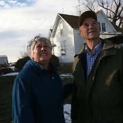 "On a seasonably warm day in January, Karen and Bill Johnson enjoy the sunshine and beautiful sky on their family farm in Shelby County, Iowa.  The Johnson's have been farming together since their marriage in 1968.  <br /> <br /> ""We lived through the 80's by the skin of our teeth,"" says Karen, referring to the lean economic years of the farm crisis.  <br /> <br /> The Johnson's, who plant 1330 acres of corn, soybeans and alfalfa, along with tending to a small herd of cattle, don't plan to retire anytime soon.  <br /> <br /> ""Neither of us has a notion of moving into town and having neighbors 5 feet from our front door,"" says Karen.    Photo by David Peterson"