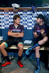 February 10, 2019 - Melbourne, VIC, U.S. - MELBOURNE, VIC - FEBRUARY 08: Chris Latham (L) and team mate Andrew Tennant of The United Kingdom (R) rest at their booth at The Six Day Cycling Series on February 08, 2019 at Melbourne Arena, VIC. (Photo by Speed Media/Icon Sportswire) (Credit Image: © Speed Media/Icon SMI via ZUMA Press)