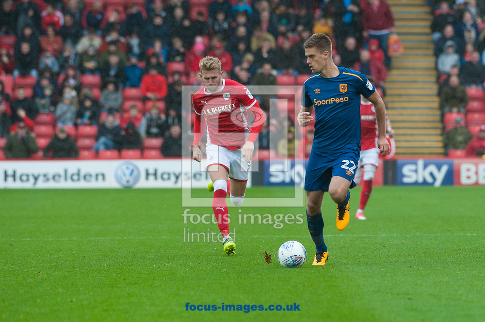 Markus Henriksen of Hull City takes the ball down the wing during the Sky Bet Championship match at Oakwell, Barnsley<br /> Picture by Matt Wilkinson/Focus Images Ltd 07814 960751<br /> 21/10/2017