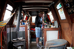 UK ENGLAND LONDON 3MAY16 - London Canal boat resident Mike Wells on his narrowboat near Homerton, east  London.<br /> <br /> jre/Photo by Jiri Rezac<br /> <br /> © Jiri Rezac 2016