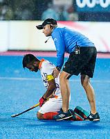 BHUBANESWAR -  Hockey World League finals , Semi Final . Argentina v India. Manpreet Singh (Ind) after the lost match. met coach Sjoerd Marijne (Ind) .  COPYRIGHT KOEN SUYK