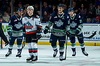 KELOWNA, BC - JANUARY 24: Kyle Topping #24 of the Kelowna Rockets skates alongside former teammate Conner Bruggen-Cate #20 of the Seattle Thunderbirds at Prospera Place on January 24, 2020 in Kelowna, Canada. (Photo by Marissa Baecker/Shoot the Breeze)