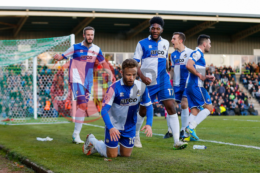 Matt Taylor of Bristol Rovers celebrates with a worm after scoring a goal to make it 0-1 - Photo mandatory by-line: Rogan Thomson/JMP - 07966 386802 - 29/04/2015 - SPORT - FOOTBALL - Nailsworth, England - The New Lawn - Forest Green Rovers v Bristol Rovers - Vanarama Conference Premier - Playoff Semi Final 1st Leg.