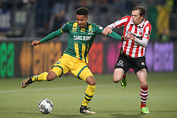Tyronne Ebuehi of ADO Den Haag, Craig Goodwin of Sparta Rotterdam during the Dutch Eredivisie match between ADO Den Haag and Sparta Rotterdam at Cars Jeans stadium on September 23, 2017 in The Hague, The Netherlands