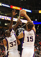 Nov. 5 2010; Phoenix, AZ, USA; Memphis Grizzlies forward Zach Randolph (50) fights for a rebound with Phoenix Suns teammates forward Grant Hill (33) , center Robin Lopez (15) and guard Jason Richardson (23) during the first half at the US Airways Center. Mandatory Credit: Jennifer Stewart-US PRESSWIRE.