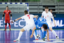 Mikolaj Zastawnik of Poland and Douglas Junior of Kazakhstan during futsal match between Poland and Kazakhstan at Day 3 of UEFA Futsal EURO 2018, on February 1, 2018 in Arena Stozice, Ljubljana, Slovenia. Photo by Urban Urbanc / Sportida