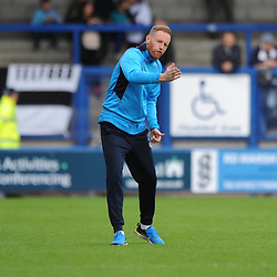 TELFORD COPYRIGHT MIKE SHERIDAN 15/9/2018 - Telford boss Gavin Cowan makes a coaching point to his players prior to the Vanarama Conference North fixture between AFC Telford United and Stockport County.