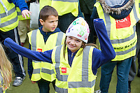 Entitled 'Hi- Five 4 Hi Vis'  A Guinness World Record for the greatest number of people wearing high visibility vests in any one place took  place in Oranmore town centre at the all weather pitch The event was supported by the Garda Siochana and the Road Safety Authority..At the event were hundreds of highly visible locals Ellie Billet from Kilcolgan Educate Together National School  Picture :Andrew Downes.