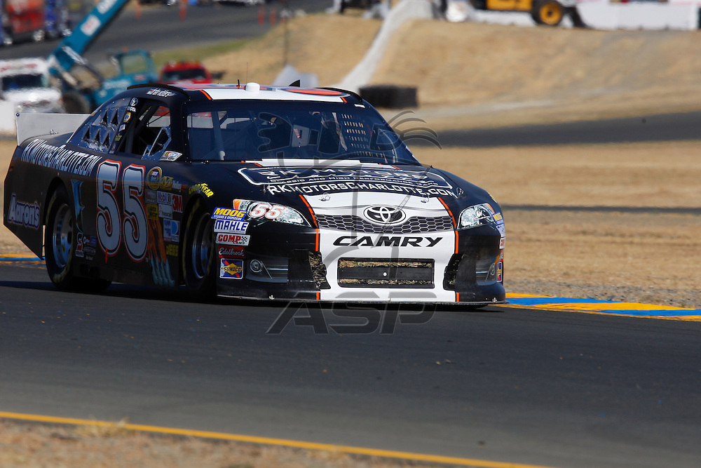 SONOMA, CA - JUN 23, 2012:  Brian Vickers brings his car through turn 10 during a practice session for the Toyota Save Mart 350 at the Raceway at Sonoma in Sonoma, CA.