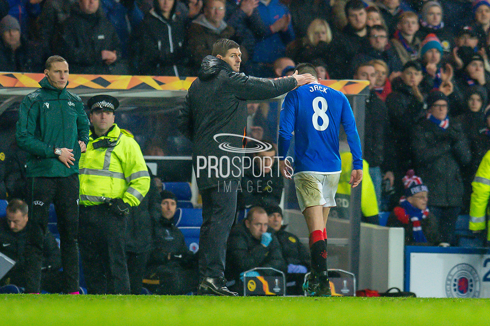 Ryan Jack (#8) of Rangers FC is consoled by Steven Gerrard, manager of Rangers FC after being shown a red card during the Europa League Group G match between Rangers FC and BSC Young Boys at Ibrox Park, Glasgow, Scotland on 12 December 2019.