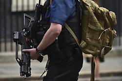 July 5, 2018 - London, England, United Kingdom - 10 Downing Street is pictured as the Government called for an emergency Cabinet, after Amesbury Poisoning, London on July 5, 2018. Britain is holding an emergency cabinet meeting on July 5, over a couple who were left critically ill after being exposed to the same nerve agent used on a former Russian spy earlier this year. Home Secretary Sajid Javid will be chairing the talks in London, as counter-terrorism police lead an investigation into the incident in Amesbury, a village in southwest England. (Credit Image: © Alberto Pezzali/NurPhoto via ZUMA Press)