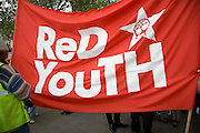 May Day march and rally at Trafalgar Square, May 1st, 2010 Red Youth banner