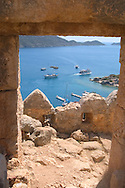 A view of the Bay of Kekova from<br /> the Fortress of Kalekoy  south coast  Turkey<br /> c. Ellen Rooney