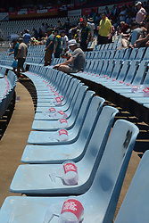 Pretoria 26-12-18. The 1st of three 5 day cricket Tests, South Africa vs Pakistan at SuperSport Park, Centurion. Day 1. Plastic mugs on chairs are made available for drinks bought at refreshments stands. <br /> Picture: Karen Sandison/African News Agency(ANA)