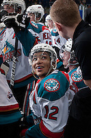 KELOWNA, CANADA -FEBRUARY 25: Tyrell Goulbourne #12 of the Kelowna Rockets sits on the bench all smiles after scoring a hattrick against the Prince George Cougars during third period on February 25, 2014 at Prospera Place in Kelowna, British Columbia, Canada.   (Photo by Marissa Baecker/Getty Images)  *** Local Caption *** Tyrell Goulbourne;